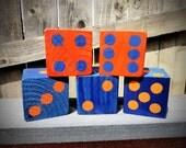 5 Jumbo Orange & Blue Florida Gators Lawn Yard DICE - Yahtzee,Bunco,Home Decor