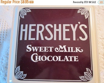 20% SALE Vintage HERSHEY CHOCOLATE Tin Container with Hershey Factory Cream Brown Americana Advertising