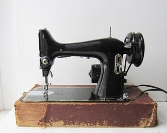 ON SALE Antique Modern Electric Sewing Machine with Case
