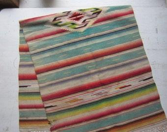 "ON SALE Vintage Serape Table Runner -  Woven Wool Textile - Southwestern Home Decor 17"" x 47"""