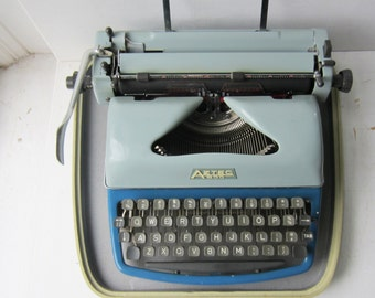 Aztec 600 Typewriter and Case - Two Tone Blue Portable Manual Typewriter - Made in Germany