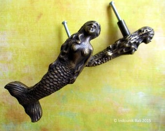Putri Duyung Mermaid Cabinet Door Handle or Knob Solid Brass 10cm, 1pc Only