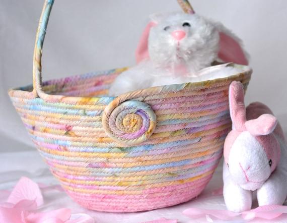 shabby chic easter basket handmade pink batik basket pastel. Black Bedroom Furniture Sets. Home Design Ideas