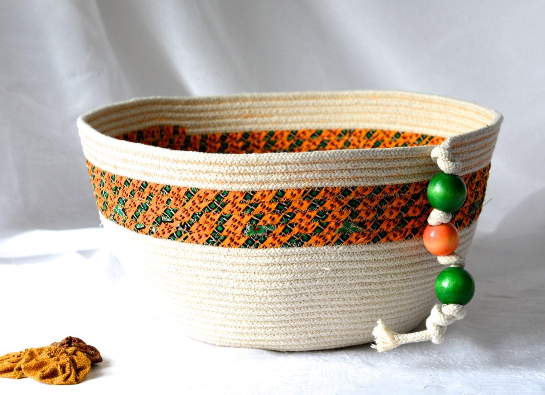Handmade Rope Basket : Natural rope basket handmade fiber brush holder