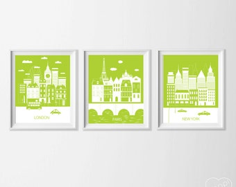 Lime Green Travel Nursery , London Paris New York Art Prints , Travel City Nursery Art , Kid's Wall Art , Travel Art Paris Wall Decor Art