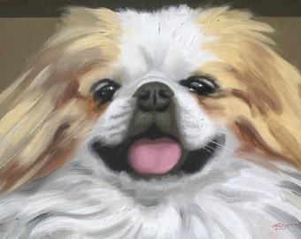 Pekingese dog oil painting 24x36 (61 x 91.4 cm) by artist RUSTY RUST / D-173