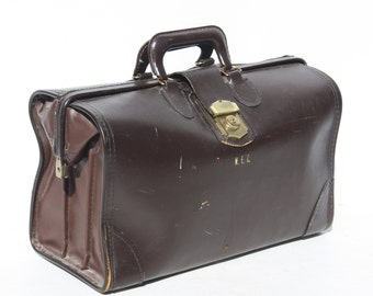 Vintage Brown Leather Briefcase Portfolio Attache Case Medical Bag Doctor's Bag Personalized Initialed Large