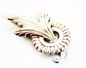 Sterling Feather Brooch- Plume Brooch- Art Deco- 1940 Fashion- Detailed Brooch- Art Nouveau- SS Feather Pin- SS Plume Pin- Large Feather Pin