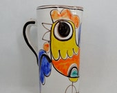 ON SALE Desimone Pottery Pitcher Mid Century with Rooster Blue Orange Yellow on White Signed Desimone Italy 13