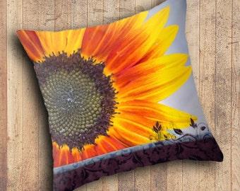 FLORAL THROW PILLOW - Sunflower - Summer Cheer - home decor, home accent