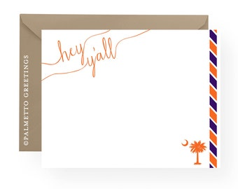 PRINTED - Hey Y'all Clemson Tigers Inspired Notecards, Stationery, South Carolina Palmetto Moon Blank Notecards with stripes - Set of 8