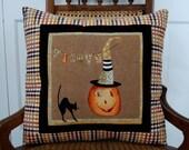 Halloween Pillow, Cheeky Pumpkins, Trick or Treat, Pumpkin, Black Cat