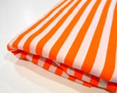 Orange & White Striped Fabric, Peter Pan Fabrics, Sewing Material, 1 yd Remnant
