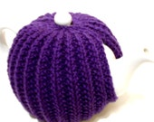 Tea Cozy, Knitted Tea Pot Cozy,  Purple Acrylic Cozy, Tea Time Accessories