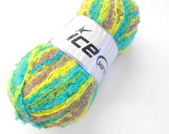 Ice Yarns Boucle Mohair Light, Knitting Yarn, Made in Turkey, Multi Colored Yarn, Crochet Supplies Y199