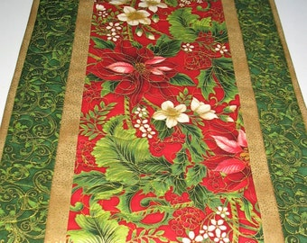Christmas Table Runner with Poinsettias Posies from Kaufman Flourish 9 by Peggy Toole