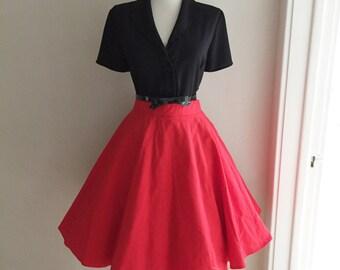 VINTAGE 1950s 1960s Lipstick Red Full Circle Skirt