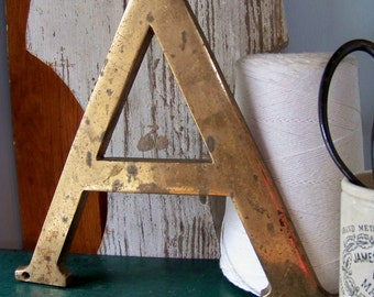 """Vintage Brass 10"""" Sign Letter A - Marquee Letter - Typography - Industrial"""