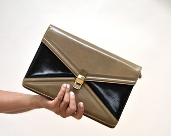 Vintage Leather Clutch Tan and Black Leather Purse Color Block// 70s Vintage Leather Clutch Envelope Clutch Purse Jay Herbert