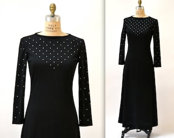 Vintage Black Dress Size Medium Maxi Dress with Long Sleeves with Rhinestones// 70s Vintage Black Evening Gown Dress Medium Long Black Dress
