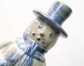 Vintage Beaumont Brothers Pottery Salt Glaze Snowman Figurine Signed BBP