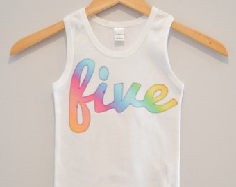 Rainbow Five Tank Top, Ready to Ship, Cursive five shirt, Girls 5th Birthday, Applique Pink Purple Yellow Blue Green, Size 6, Rainbow Party