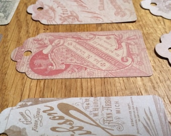 Victorian Vintage French Industrial Style Labels Die-Cut {set of 5}
