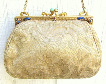 Antique Victorian Purse with Gilded Brass & enamel Frame Set with Rhinestones - 1890s Frame with Redone Gold Lace Textile