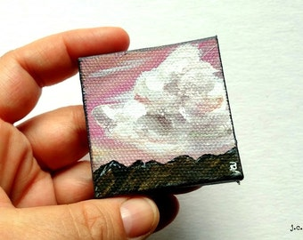 "Cloud Painting: 2x2"" Mini Original Art, Landscape painting, Mountain painting, Miniature, Mixed media Original Art, pink, purple, ""Vista II"""