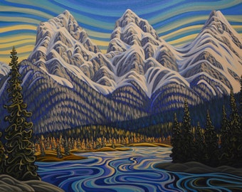 Three Sisters Canmore, 5x7, art print, canadian artist, ready to frame