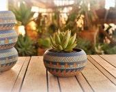 Made To Order Ceramic planter pottery Navajo inspiration Carved sgraffito Vase home deco Aztec Geometric vase Bohemian decor succulent cacti