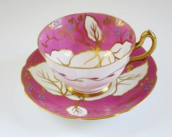 Vintage Tea Cup and Saucer, Fuschia Hot Pink Teacup and Saucer, Cup and Saucer Neon Pink, Gifts For Her