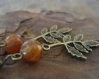 LEAF & AGATE in BRONZE - vintage earrings (1217)