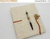 MOVING SALE Hardcover Sketch Book, Natural Canvas, Leather strap with beach stone and pen loop, In Stock