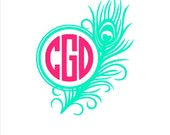 4 Inch Feather Monogram Vinyl Decal - Car Window, Laptop , Personalized Decal, Wall Decal, Initial, Yeti Cup, Tumbler Monogram