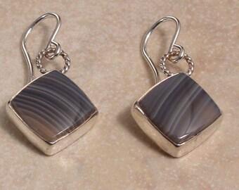 Botswana Agate and Sterling Silver Dangle Earrings
