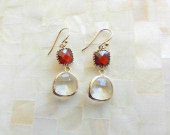 Faceted Red Garnet Glass Connectors & Clear Glass Dangle Earrings (E1251)