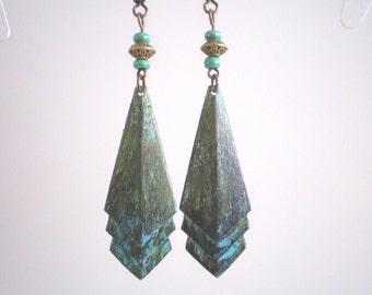 Patina Earrings, Geometric Earrings, Long Metal Earrings, Patina Jewelry, Vintage-style Jewelry, Art Deco-inspired , Green-blue Earrings