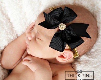 Baby headband, newborn headband, Black and gold baby headband, Baby headbands, Christmas Headband, Christmas Hair bows, Baby girl headband.