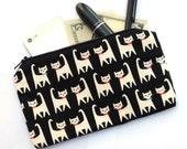 Cat Print Bag - Cat Makeup Bag, cosmetic bag, pencil pouch, pencil bag, zippered bag, clutch, Kawaii cat fabric, cute cat print bag