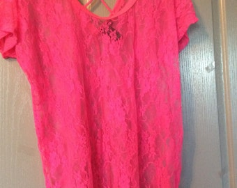 Lace top plus size hot pink 2X short sleeve blouse/sheer crisscross straps in the back