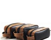 Leather dopp kit, shaving kit, makeup kit, grooming kit, groomsmen, toiletery bag, Christmas gift, Valentine gift  - Made in USA