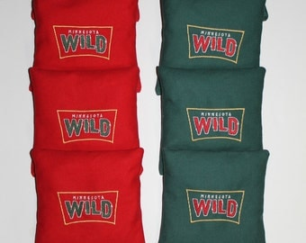 Minnesota MN Wild Cornhole Baggo Corn Hole Bean Toss Bags Embroidered Quality Regulation