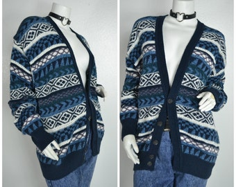 90s 80s purple navy blue white pattern abstract button up oversized sweater coat cardigan