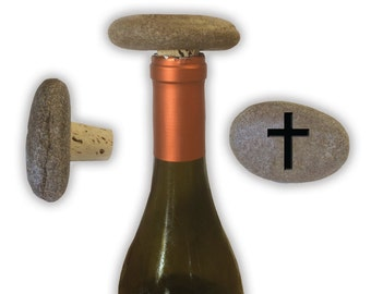 Engraved Symbol Wine Stopper on Natural Stone  - 6856 Bold Cross