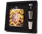 Monogrammed Hip Flask // Marblelized Chevron Monogram Flask