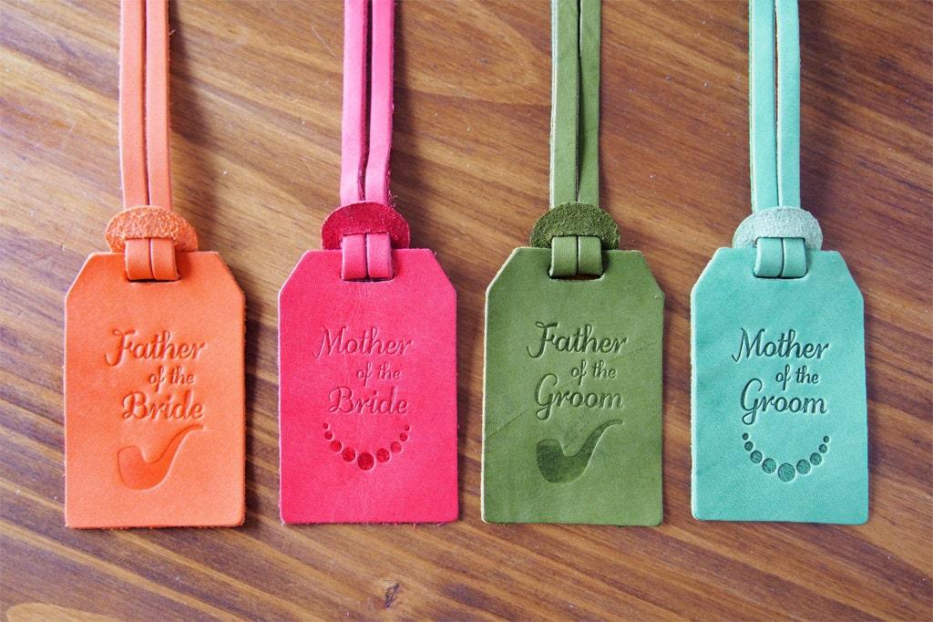 Personalized Luggage Tags Wedding Gift: Custom Wedding Favors Leather Luggage Tags Monogram