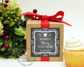 Set of 6 - Christmas Party Favor - Merry Little Cupcake Label, Christmas Party Favor, Personalized Holiday Gift, Cupcake mix favors
