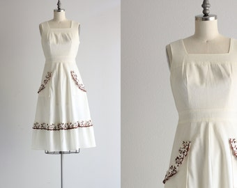 Vintage Linen Dress with Pockets . 50s Cotton Dress . White Summer Dress