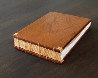 custom mahogany guest book - personalized wedding anniversary gift rustic graduation retirement memorial journal cabin - made to order